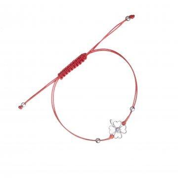 Дамска сребърна гривна с червен конец и детелина 4897