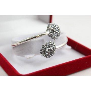Дамска сребърна твърда гривна Букет тъмно сребро 4900
