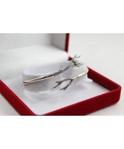 Дамска сребърна твърда гривна Първа Целувка тъмно сребро перла 4901