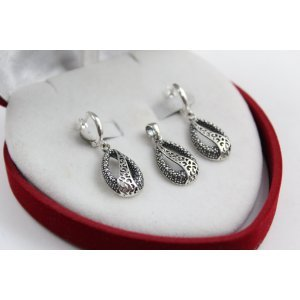 Дамски сребърен комплект тъмно сребро 4931