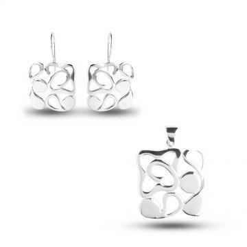 Дамски сребърен комплект обеци медальон 4955