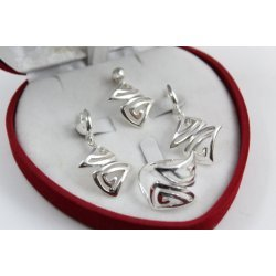 Дамски сребърен комплект обеци пръстен медальон 4958