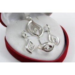 Дамски сребърен комплект обеци медальон пръстен 4968