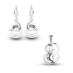 Дамски сребърен комплект обеци медальон 4972