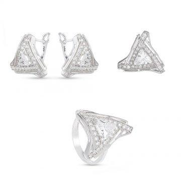 Дамски сребърен комплект обеци медальон пръстен 4996