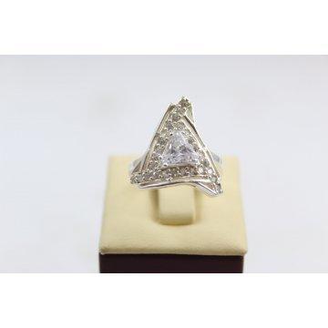 Сребърен дамски пръстен с бели камъни 4999