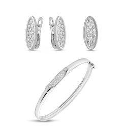 Дамско сребърно колие с бели камъни 5012