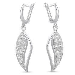 Сребърни дамски обеци бели камъни 621