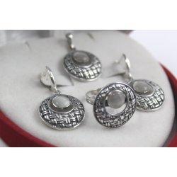 Дамски сребърен комплект с естествен камък котешко око 5071