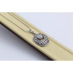 Дамско сребърно колие с естествен камък котешко око 5072