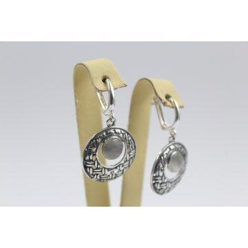 Дамски сребърни обеци с естествен камък котешко око 641