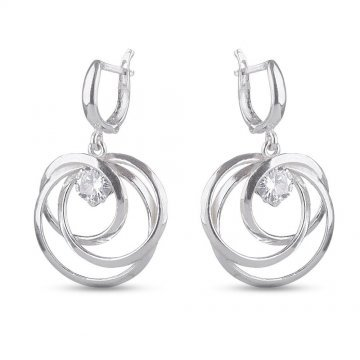Дамски сребърни обеци с бели камъни