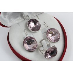 Сребърен комплект със Swarovski Elements Разкош Бледа Роза 524