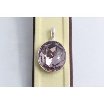 Сребърен медальон със Swarovski Elements Разкош Бледа Роза 525