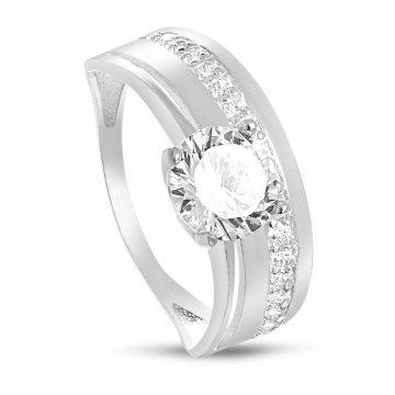 Сребърен пръстен с бели камъни 539