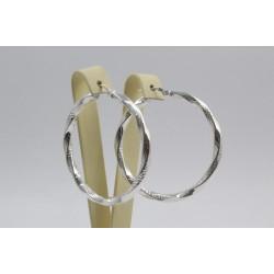 Дамски сребърни обеци усукани халки 609
