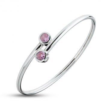 Твърда дамска сребърна гривна с розови камъни Джемини 62