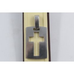 Сребърен дамски медальон кръст на плочка 647