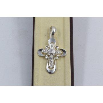 Сребърен дамски кръст с бели циркони 648