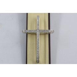 Сребърен дамски кръст с бели камъни Мария 650