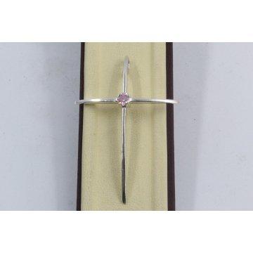 Сребърен дамски кръст с розов камък 653