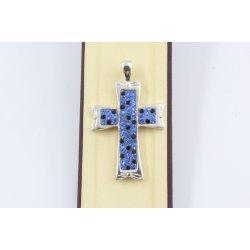 Сребърен дамски кръст със сини и черни камъни 655