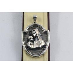 Сребърен дамски медальон Богородица тъмно сребро 657