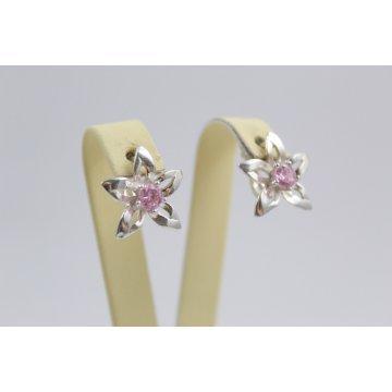 Дамски висящи обеци Кристална Прелест розови камъни 670
