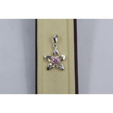 Дамски сребърен медальон Кристална прелест розови камъни 671