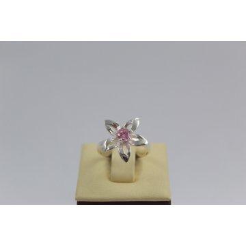 Дамски сребърен пръстен Кристална Прелест розов камък 672