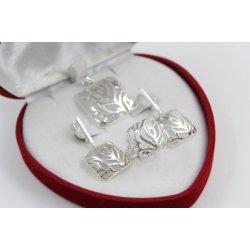 Дамски сребърен комплект пръстен медальон обеци 673