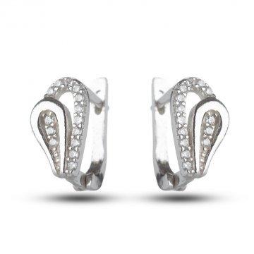 Сребърни дамски обеци с бели камъни 674