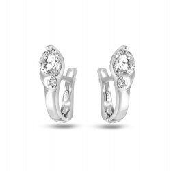 Дамски сребърни обеци с бели камъни 744