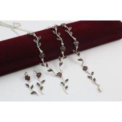 Сребърен комплект - Ангелски Цветя червени колие гривна обеци 746