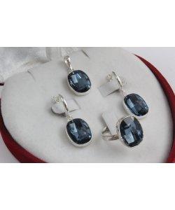 Сребърен дамски комплект със Swarovski Elements Океански Дълбини 859