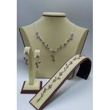 Дамски сребърен комплект Ангелски Цветя розови обеци колие гривна
