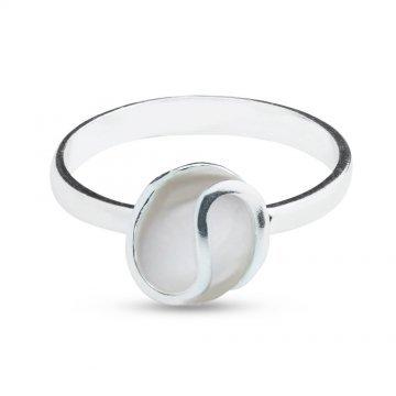 Дамски сребърен пръстен с бяло котешо око 4534