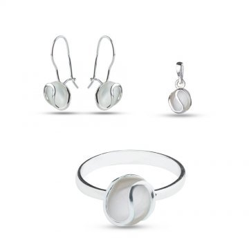 Дамски сребърен комплект с бяло котешко око 920