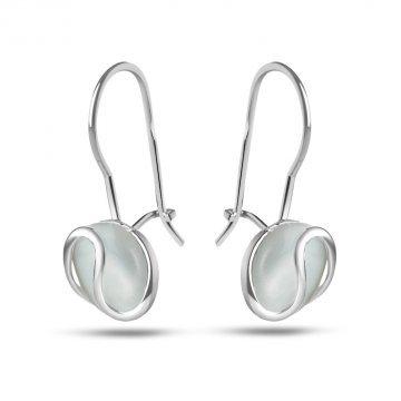 Дамски сребърни обеци с бяло котешко око 3909