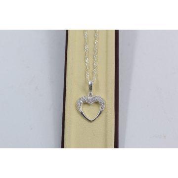 Дамско сребърно колие със сребърно сърце с камъни 3425