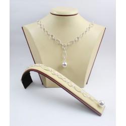 Дамски сребърен комплект Милена Безкрайност колие и гривна 3578