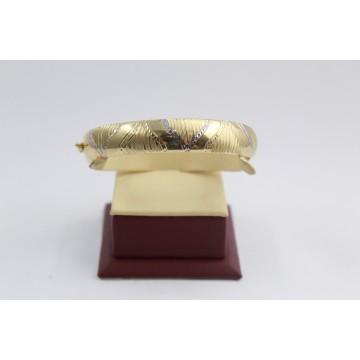 Златна дамска твърда двулицева гривна от бяло и жълто злато 3479