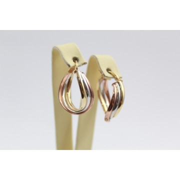 Дамски златни обеци халки трицветно злато 2405