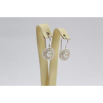 Дамски сребърни обеци с бели камъни 3418