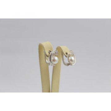Дамски сребърни обеци с бели циркони и перли 3413