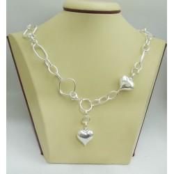 Дамско сребърно колие Сърца 1