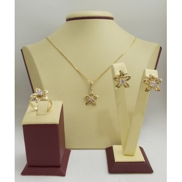 Дамски златен комплект Цветя 2363