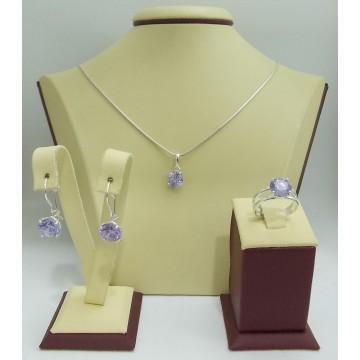 Дамски сребърен комплект Криста Виолет