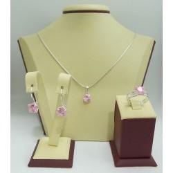 Дамски сребърен комплект Криста Розов 2441