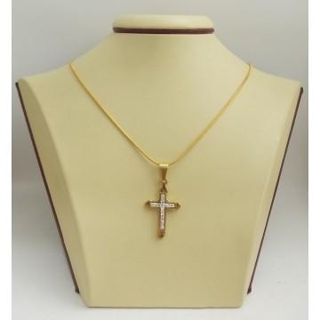 Стоманен медальон кръст с бели камъни 2509